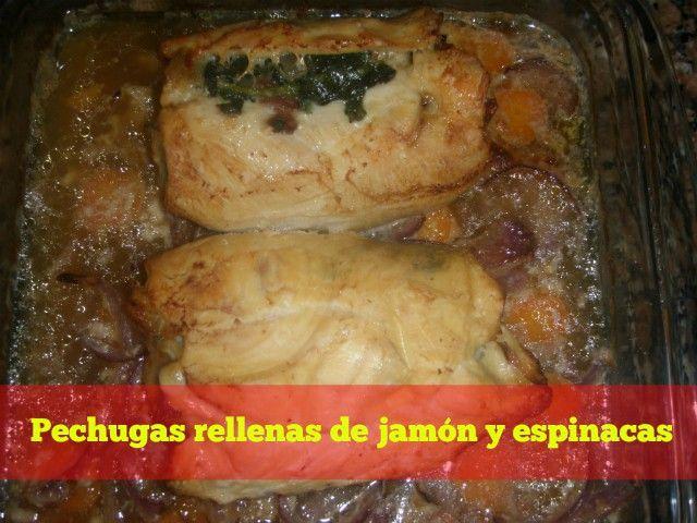pechugas rellenas de jamon y espinacas