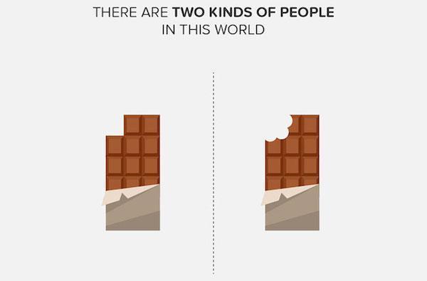 dos clases personas comen chocolate por cuadritos y las que no