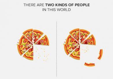 dos clases personas comen corteza pizza y las que no