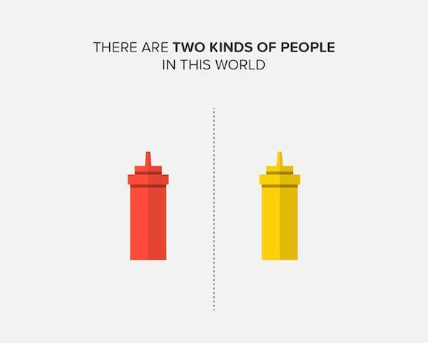dos clases de personas las que usan ketchup o las que usan mostaza