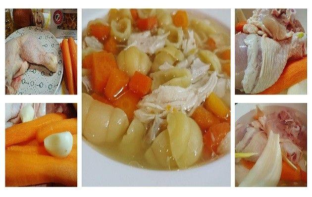 Sopa de pollo con verduras pasos