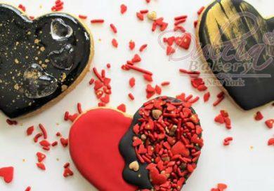 Galletas de corazón con efecto espejo fb