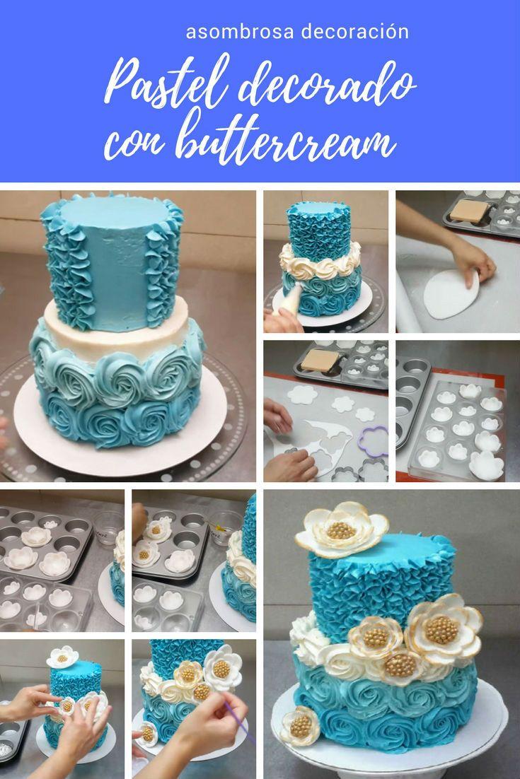 Pastel decorado con buttercream