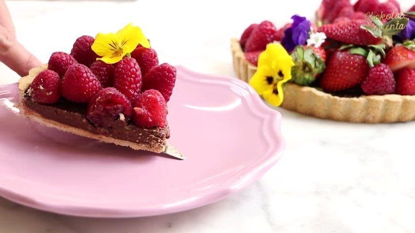 tarta vegana de chocolate y frambuesas