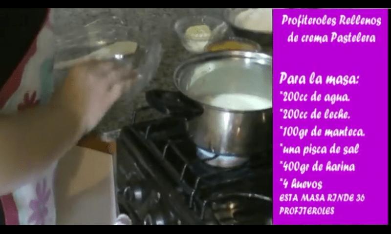 Profiteroles rellenos de crema pastelera masa 1